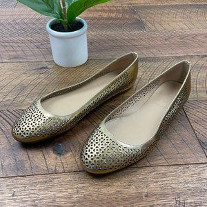 J.CREW Nora gold perforated ballet flats